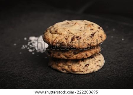 Chocolate chip cookie with sea salt  - stock photo