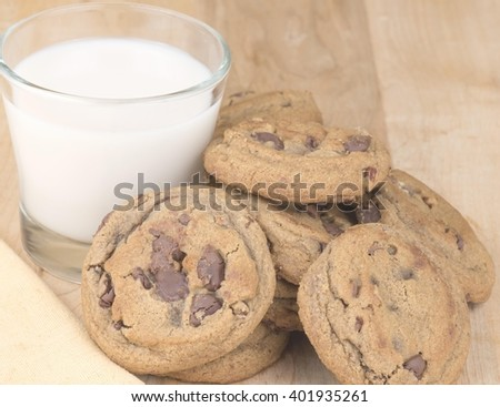 Chocolate chip cookies and milk - stock photo