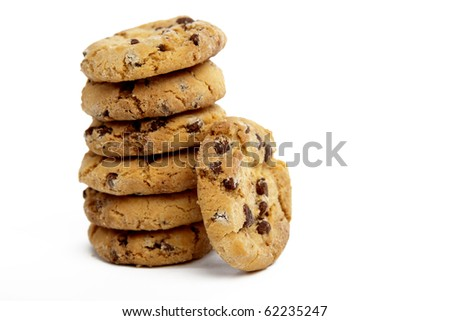 Chocolate Chip Cookies in a Pile on a White Isolated Background - stock photo