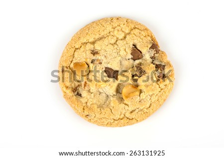 Chocolate chip cookies isolate on white background. - stock photo