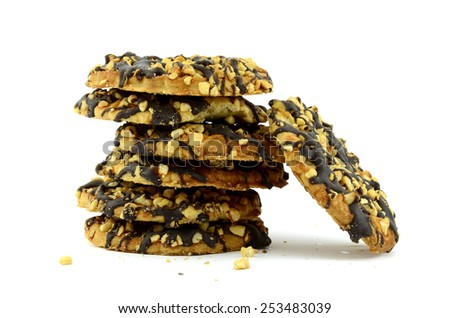 Chocolate chip cookies (isolated object on white background) - stock photo