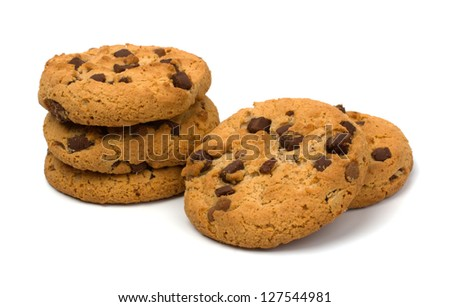 Chocolate Chip Cookies isolated on white - stock photo