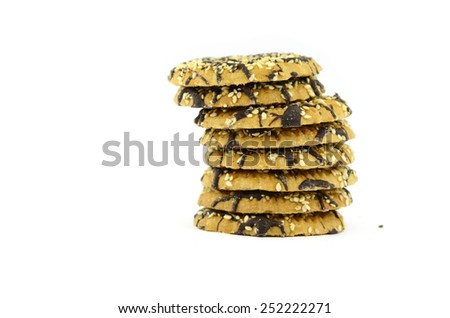 Chocolate chip cookies (isolated on white background) - stock photo