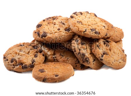 Chocolate Chip Cookies. Isolated over white . - stock photo
