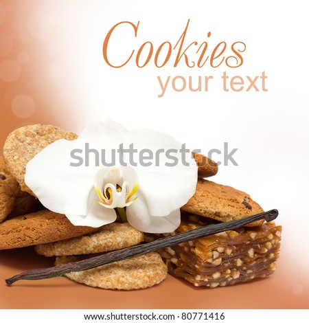 Chocolate chip cookies, nougat and vanilla spice - sweet background - stock photo