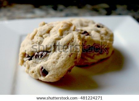 Chocolate Chip Cookies on a White Plate