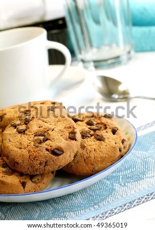 chocolate chip cookies on plate - stock photo