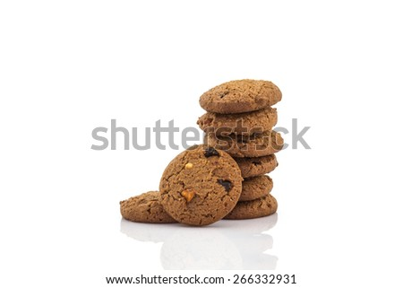 Chocolate chip cookies on white background. - stock photo