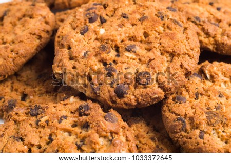 Chocolate chip cookies texture background.