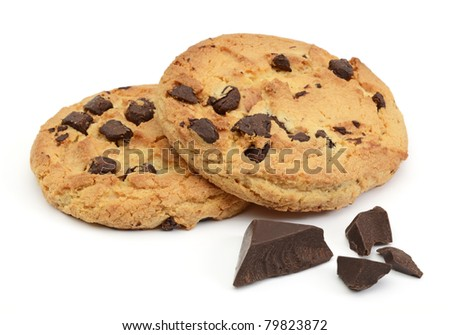 Chocolate chip cookies with chocolate parts - stock photo