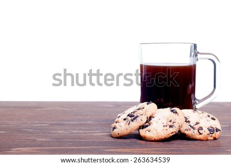chocolate chip cookies with coffee on  board side view - stock photo