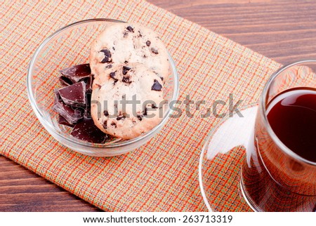chocolate chip cookies with coffee on  board top view - stock photo