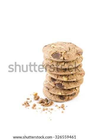 Chocolate chip cookies with hazel nut on white background