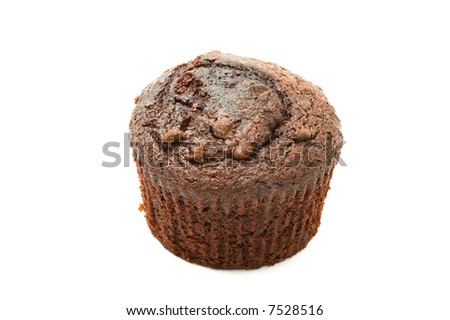 chocolate chip muffin isolated on white - stock photo