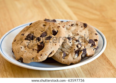 Chocolate chip (ok chunk) cookies on plate.