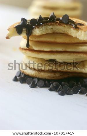 Chocolate chip pancakes - stock photo