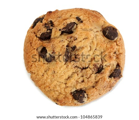Chocolate chips cookie isolated on white - stock photo