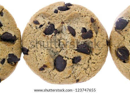 Chocolate chips cookie top view image on white background