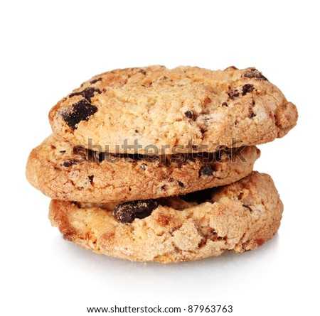 Chocolate chips cookies isolated on white - stock photo