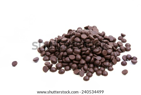 Chocolate Chips on White Background - stock photo