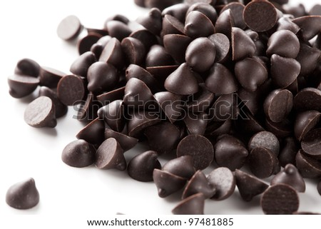 Chocolate chips was placed on a white background - stock photo