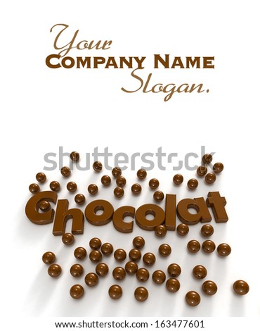 Chocolate (chocolat) word and drops in a delicious texture - stock photo