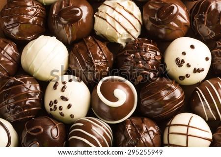 Chocolate, Chocolate Candy, Truffle. - stock photo