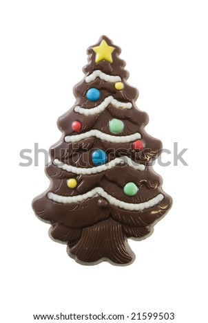 Chocolate Christmas tree isolated on white - stock photo