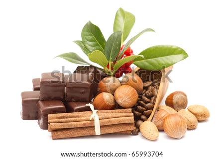 chocolate, cinnamon, hazelnuts, coffee beans - stock photo