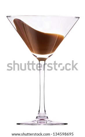 chocolate cocktail with splash isolated on white - stock photo