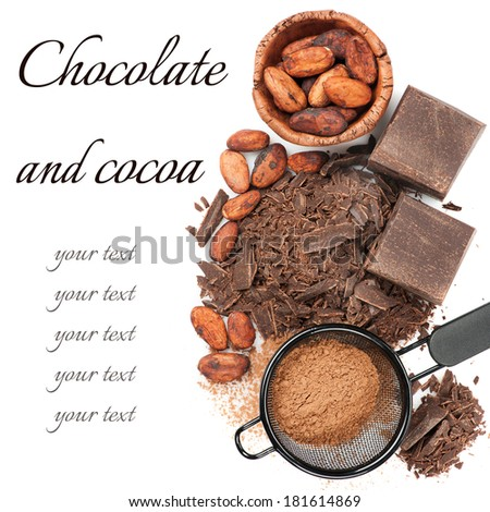 Chocolate, cocoa beans and cocoa powder on white background  - stock photo