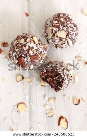Chocolate Coconut Almond Balls - stock photo