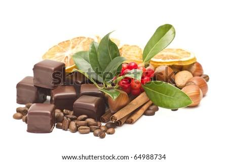 chocolate, coffee beans, cinnamon, orange - stock photo