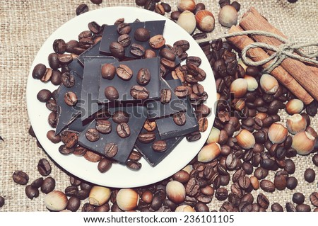 chocolate, coffee, cinnamon, hazelnut, star anise - stock photo