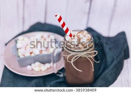 Chocolate coffee milk shake with marshmallow and sprinkles - stock photo