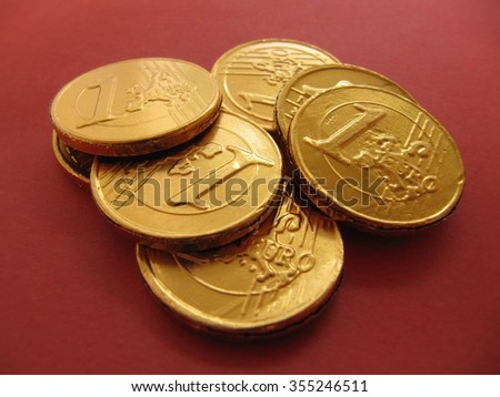 Chocolate coins of 1 euro. - stock photo