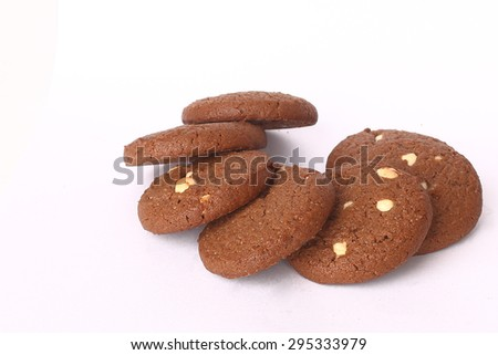 Chocolate cookie almond - stock photo