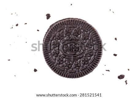Chocolate cookie and cream isolated on white - stock photo