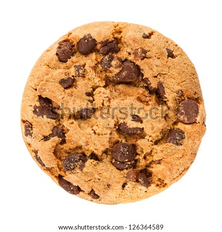 chocolate cookie in front of white background - stock photo