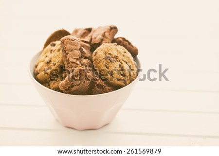 chocolate cookies and brownies in bowl - stock photo