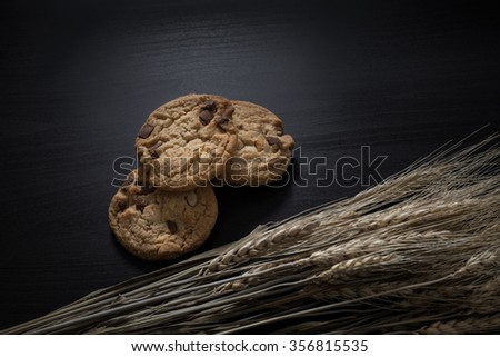 Chocolate cookies and paddy or rice grain on black wood