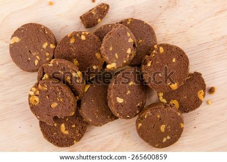 Chocolate cookies, breakfast - stock photo
