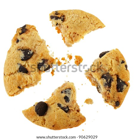Chocolate cookies. Broken, it is isolated on a white background - stock photo