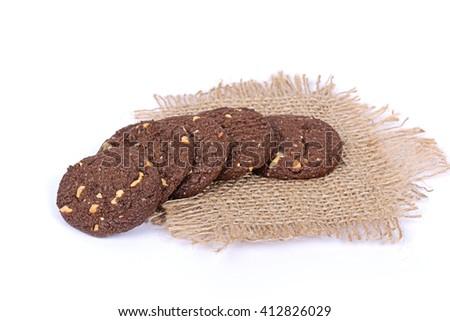 chocolate cookies, cookies, cookies on white, handmade cookies, handmade chocolate cookies, chocolate nut cookies, Choco nut cookies - stock photo