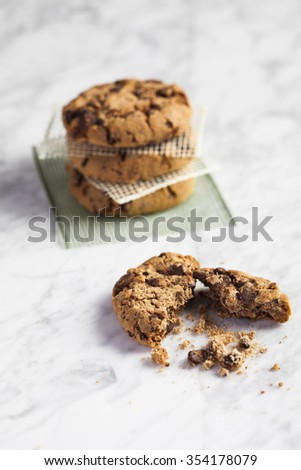 Chocolate cookies in a white marble table - stock photo
