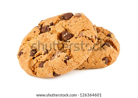 chocolate cookies in front of white background - stock photo