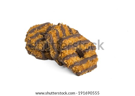 Chocolate cookies isolated on white back ground - stock photo