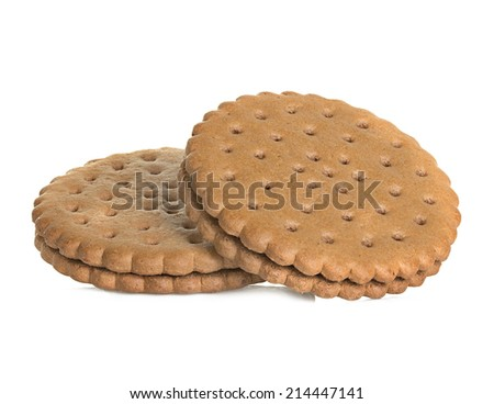 Chocolate cookies isolated on white background - stock photo