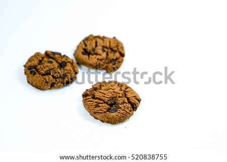 Chocolate cookies isolated on white background. Cookies chocolate chip isolated.