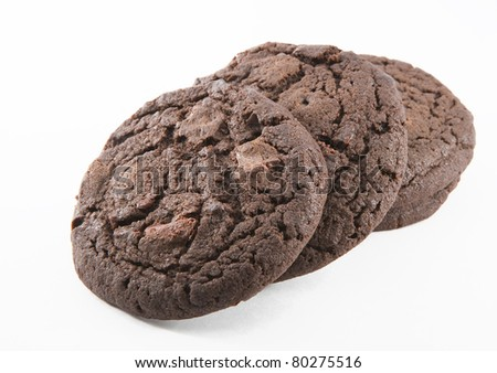 Chocolate cookies  on the white background - stock photo
